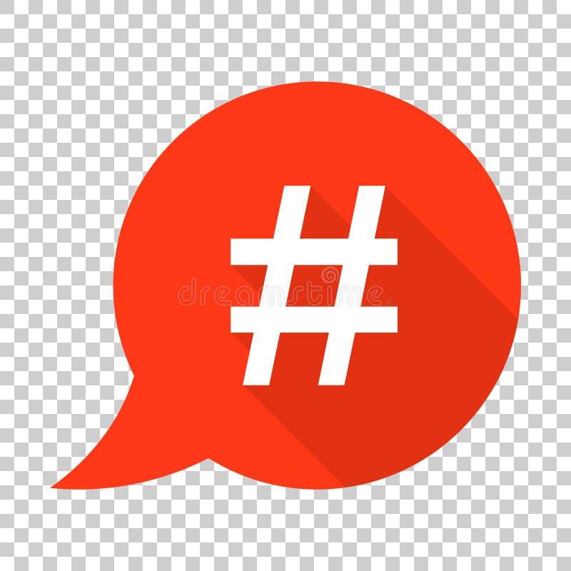 Hashtag-Vektorikone in der flachen Art Social Media, das illust vermarktet vektor abbildung