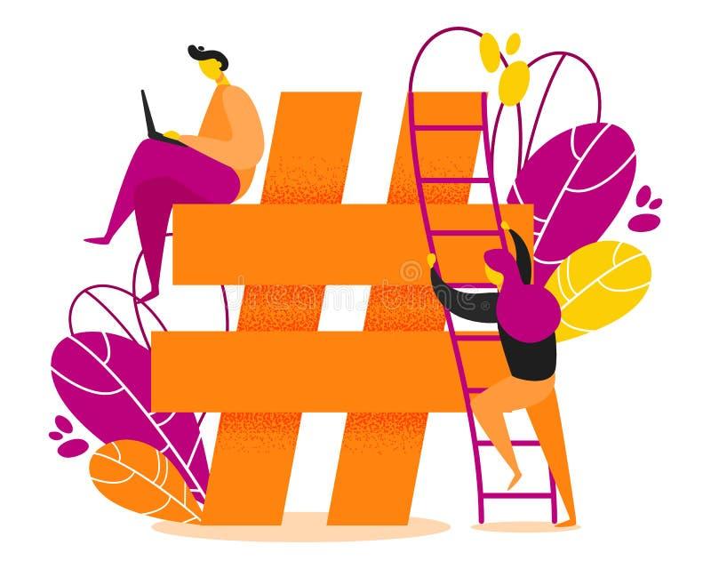 Hashtag vektorillustration royaltyfri illustrationer