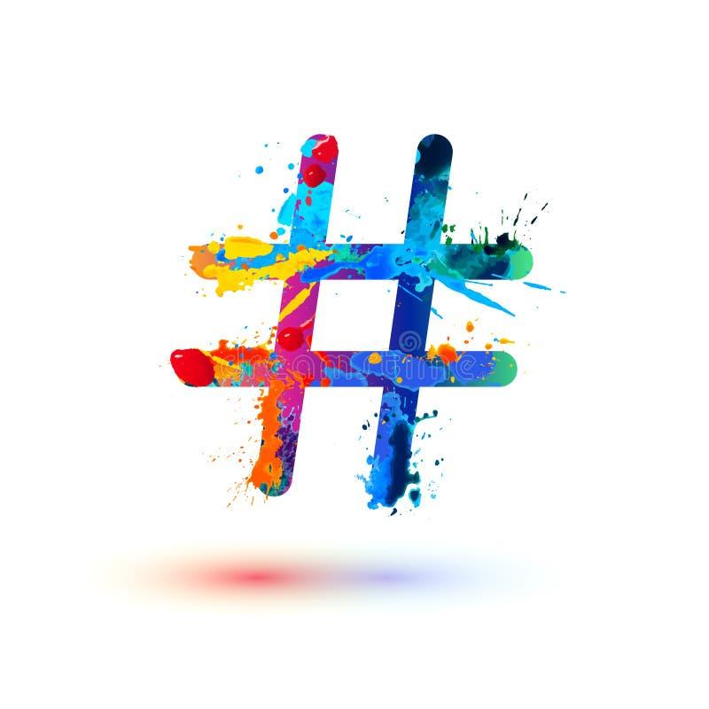 Hashtag-Zeichen der Spritzenfarbe lizenzfreie abbildung