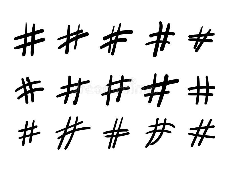 Hashtaghand getrokken pictogrammen die voor sociale netwerk of Internet-toepassing worden geplaatst Van de de verfborstel van de  royalty-vrije illustratie