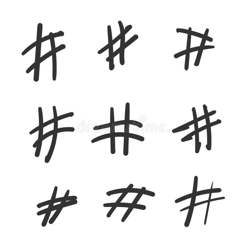 Hashtaghand getrokken pictogrammen die voor sociale netwerk of Internet-toepassing worden geplaatst Van de de verfborstel van de  vector illustratie