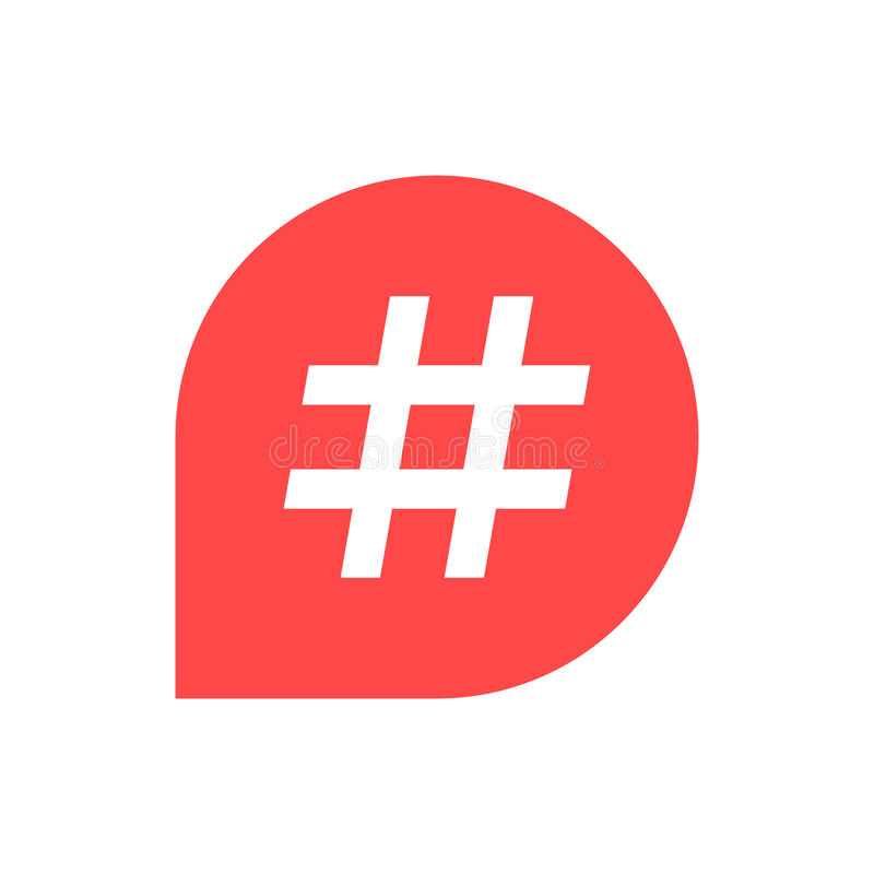 Hashtagpictogram in rode bel stock illustratie