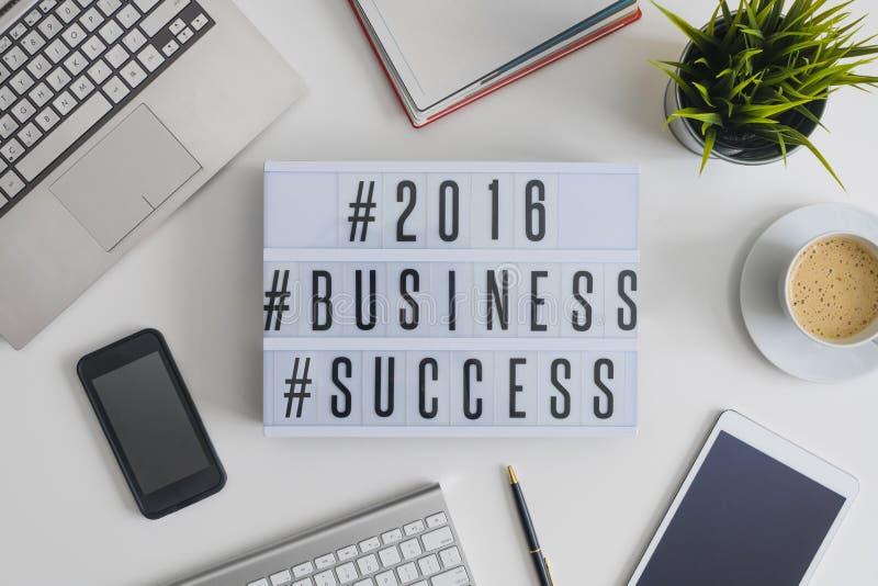 Hashtags 2016 успеха в бизнесе стоковые фотографии rf