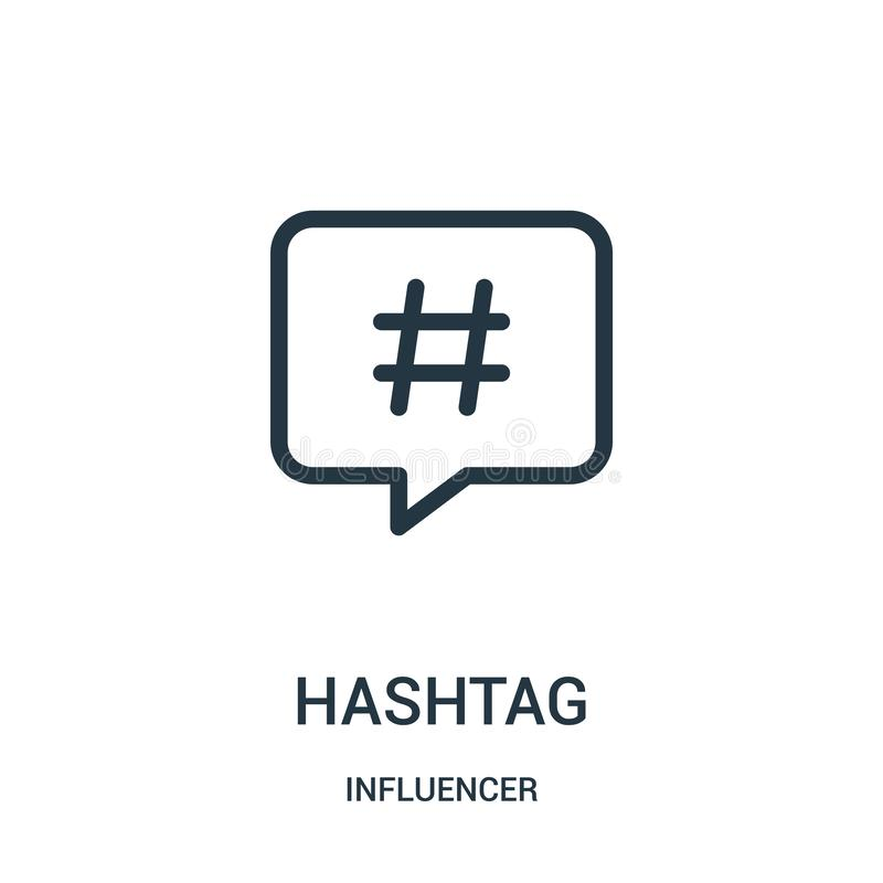 hashtagsymbolsvektor från influencersamling Tunn linje illustration för vektor för hashtagöversiktssymbol royaltyfri illustrationer