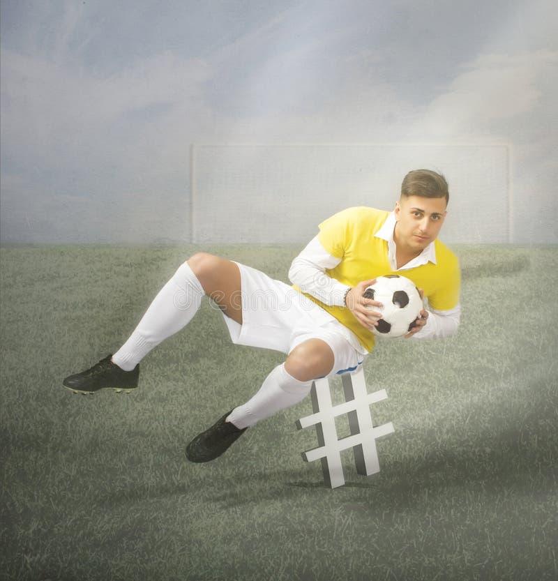 Hashtagsymbool in een voetbalogenblik royalty-vrije stock foto
