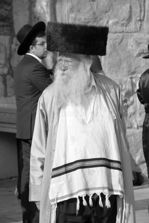 Hasidic judaicos rezam a parede ocidental fotografia de stock