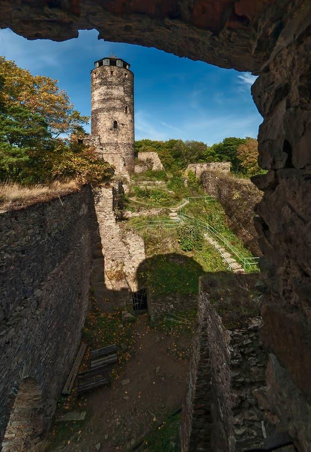 Hasistejn-Schlossruine stockbild