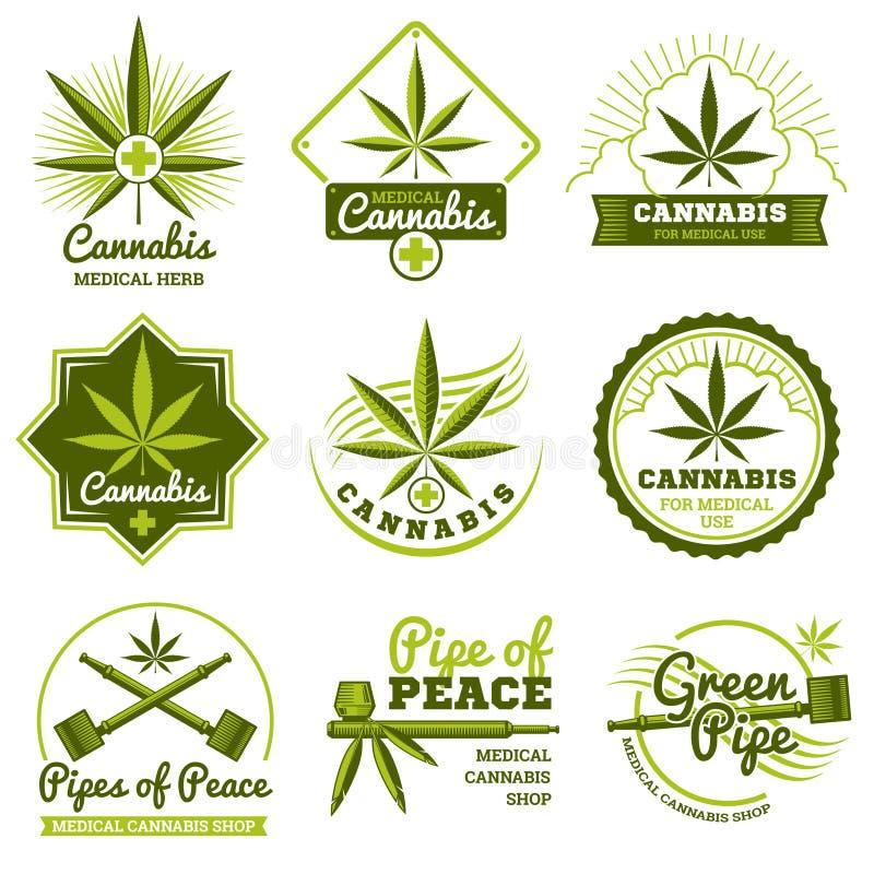Hasjiesj, rastaman, hennep, cannabis geplaatste vectoremblemen en etiketten vector illustratie
