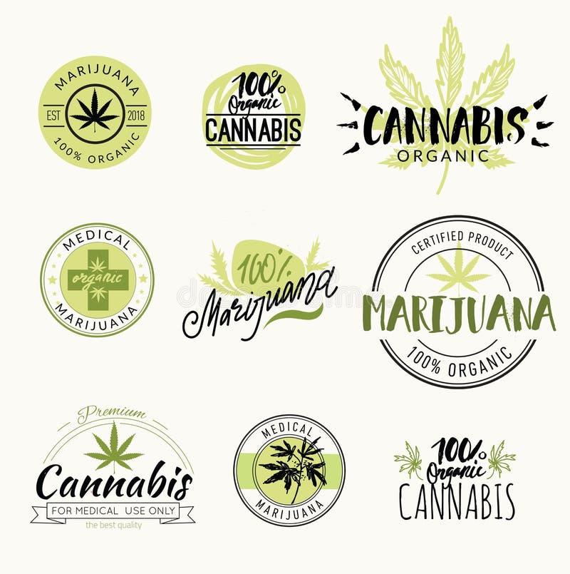 Hasjiesj, rastaman, hennep, cannabis vectordieemblemen en etiketten met het van letters voorzien wordt geplaatst royalty-vrije illustratie