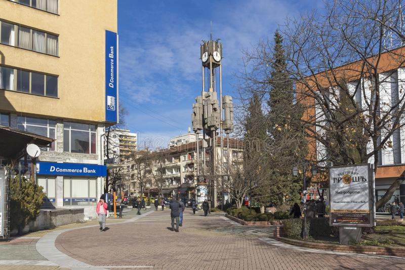 Clock tower in the center of City of Haskovo, Bulgaria royalty free stock images