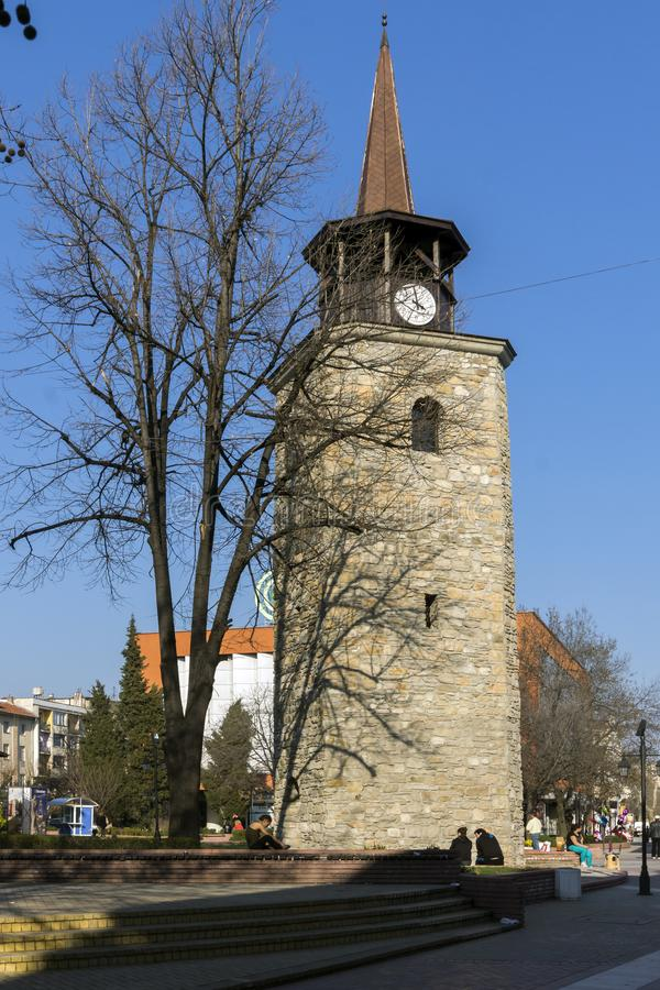 Old Clock tower in the center of City of Haskovo, Bulgaria. HASKOVO, BULGARIA - MARCH 15, 2014: Old Clock tower in the center of City of Haskovo, Bulgaria stock photography