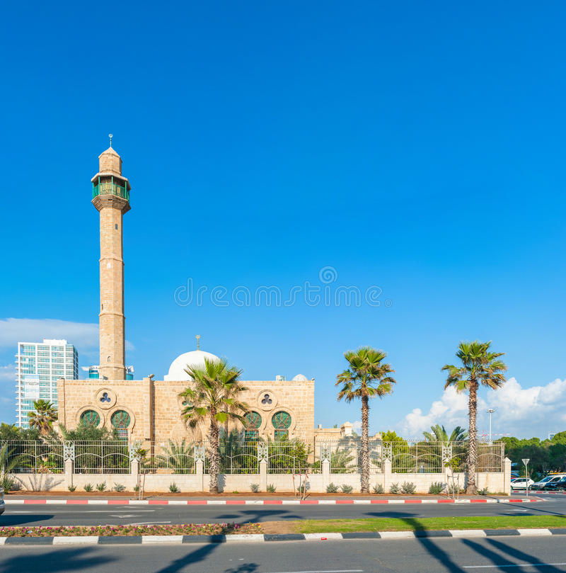 Hassan Bek Mosque. In downtown Tel Aviv, Israel. The mosque is a beautiful representative of the Ottoman style architecture royalty free stock image