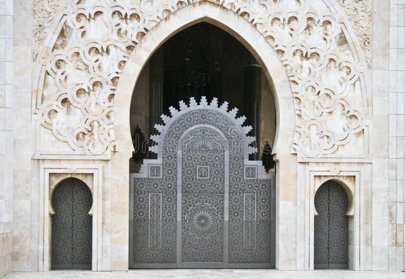 Hassan II de ingang van de Moskee stock fotografie