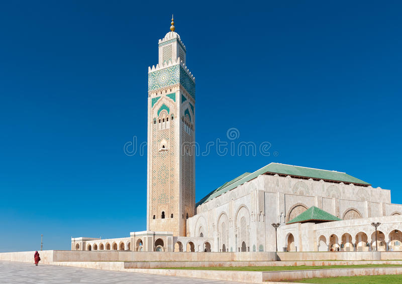 Hassan II het zijaanzicht van Casablanca Marokko van de Moskee royalty-vrije stock afbeeldingen