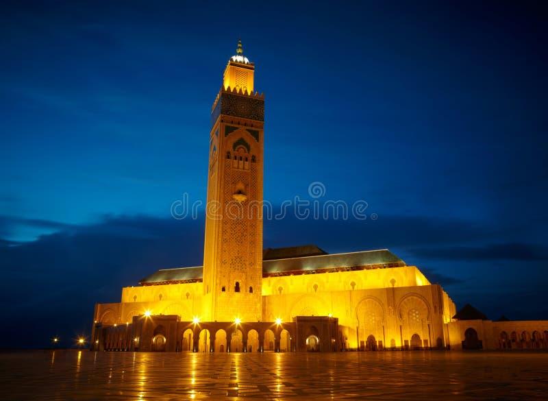Hassan II moské i Casablanca, Marocko Afrika arkivbilder