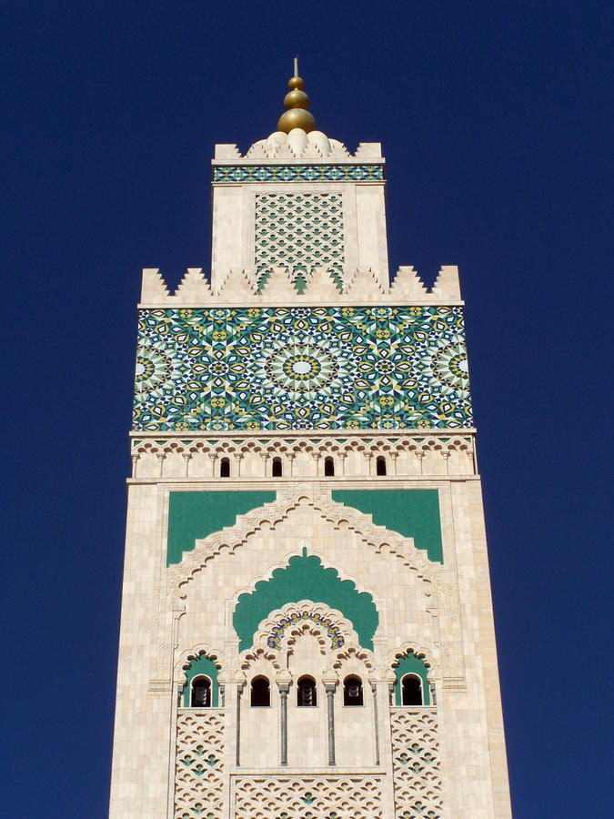 Hassan II mosque detail, Casablanca, Morocco royalty free stock photo