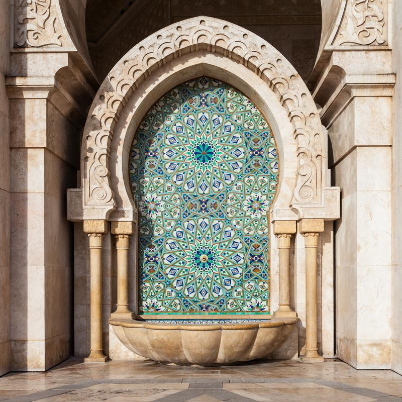 Hassan Mosque design. The Hassan II Mosque exterior pattern in Casablanca, Morocco stock images