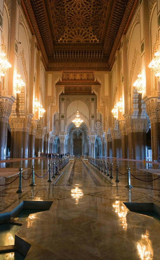 Hassan II Mosque interior corridor with columns in Casablanca stock photo