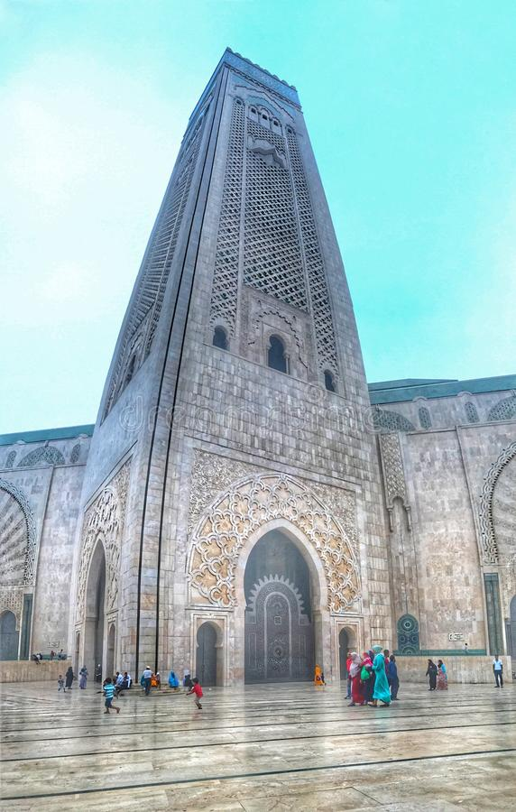 Hassan II mosque . Morocco , Casablanca royalty free stock photo