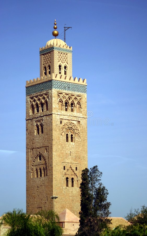 Hassan II Mosque Tower stock photo
