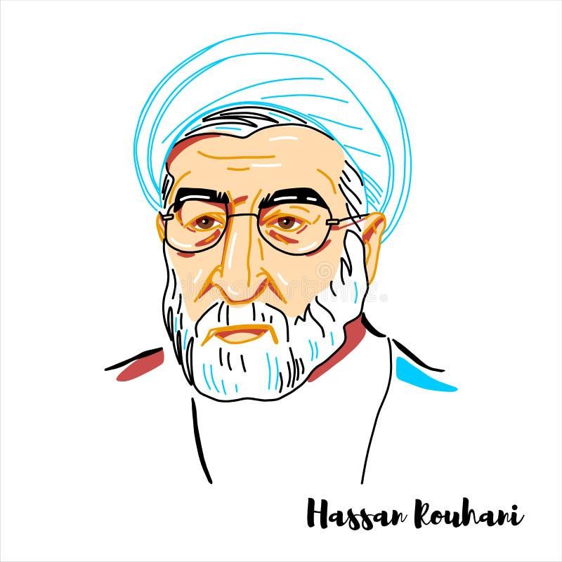 Hassan Rouhani Portrait royaltyfri illustrationer
