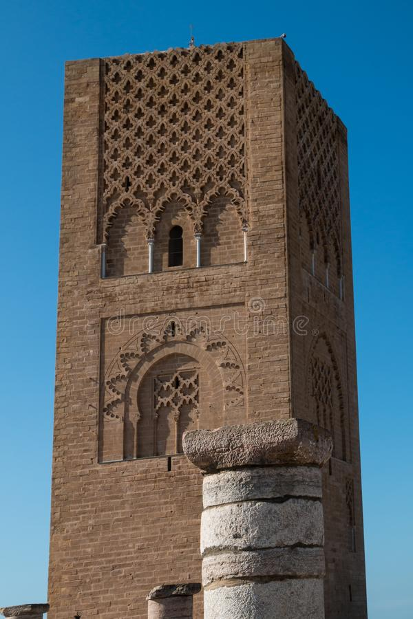 Hassan Tower em Rabat, Marrocos fotografia de stock royalty free