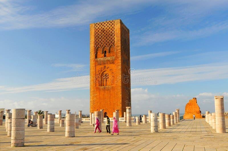 Hassan Tower, mausoléu Mohammed V em Rabat, Marrocos imagem de stock