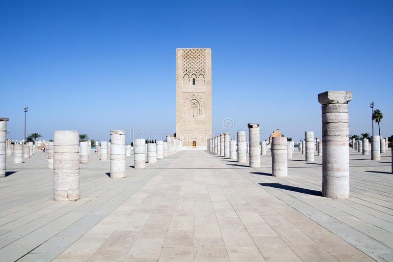 Hassan tower Morocco. Africa. Hassan tower. The Hassan Tower is a formidable sight in the distance, it stands tall and proud against the North African sun and royalty free stock photography