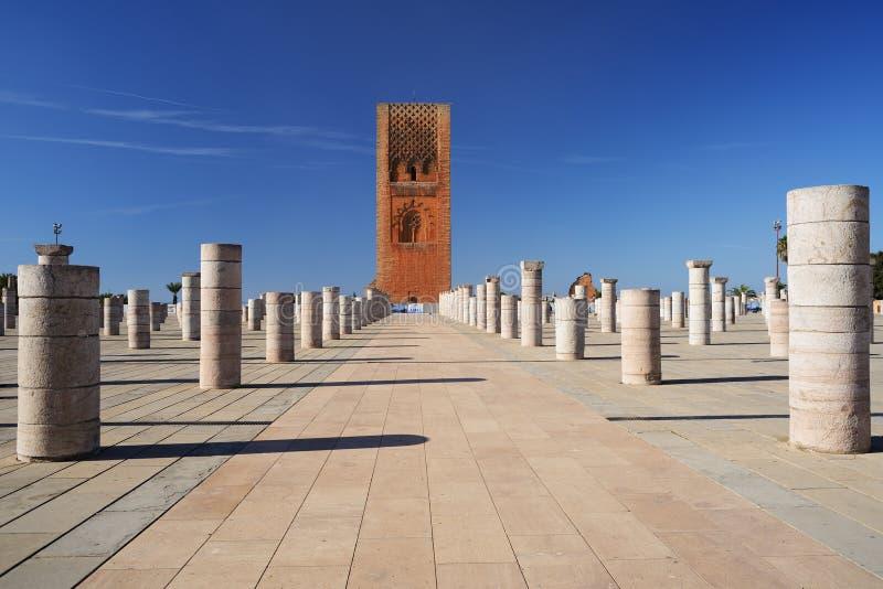 Hassan Tower in Rabat, Marokko stock foto