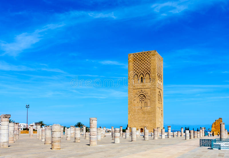 Hassan Tower in Rabat, Morocco. Hassan Tower the minaret of an incomplete mosque in Rabat, Morocco stock image