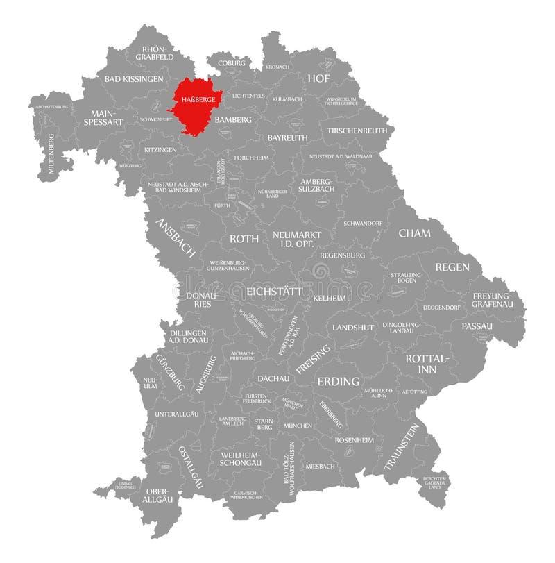 Hassberge okręgu administracyjnego czerwień podkreślająca w mapie Bavaria Niemcy ilustracji