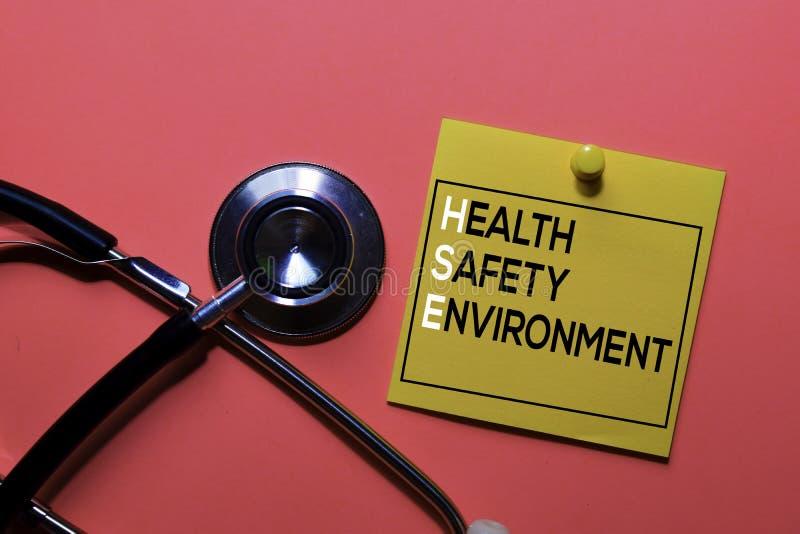 HASSE Sécurité de la santé Acronyme d'environnement sur les notes collantes Informations sur le bureau photographie stock