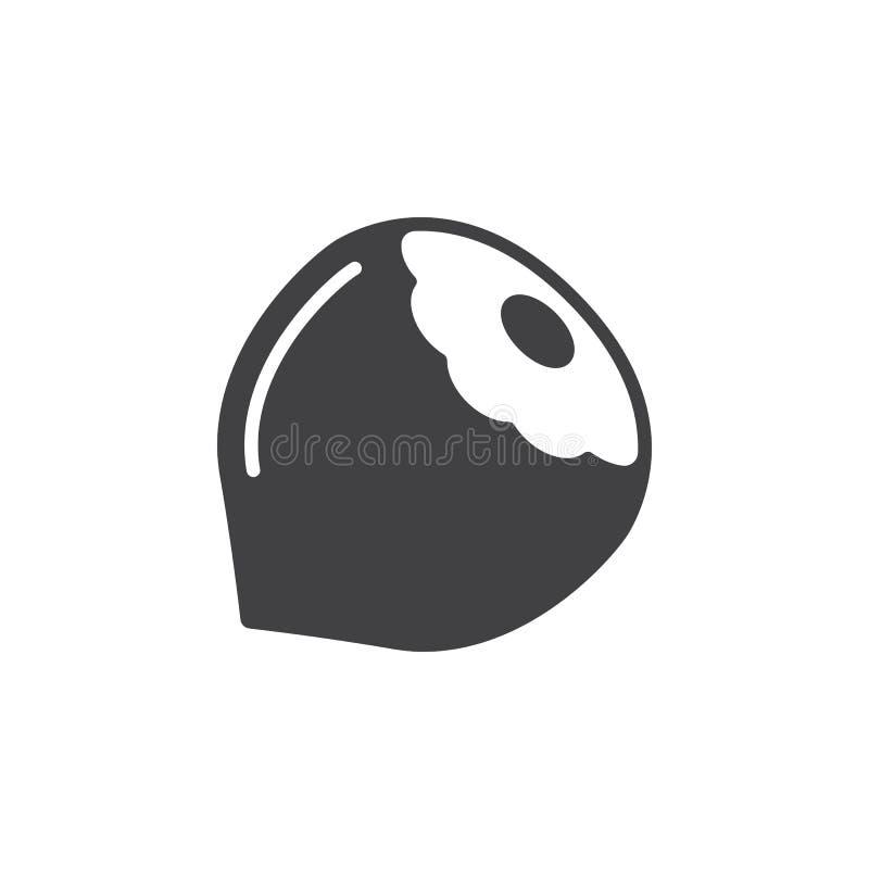 Hasselnötsymbolsvektor, fyllt plant tecken, fast pictogram som isoleras på vit stock illustrationer