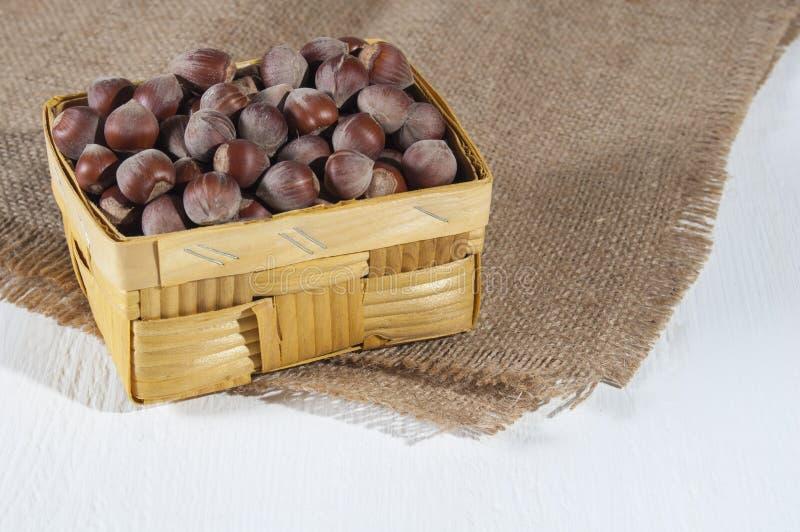 Hasselnötter i en vide- korg på säckväv på vit träbakgrund Sund mat för folk som gälls i sportar och vård- medvetet royaltyfria foton