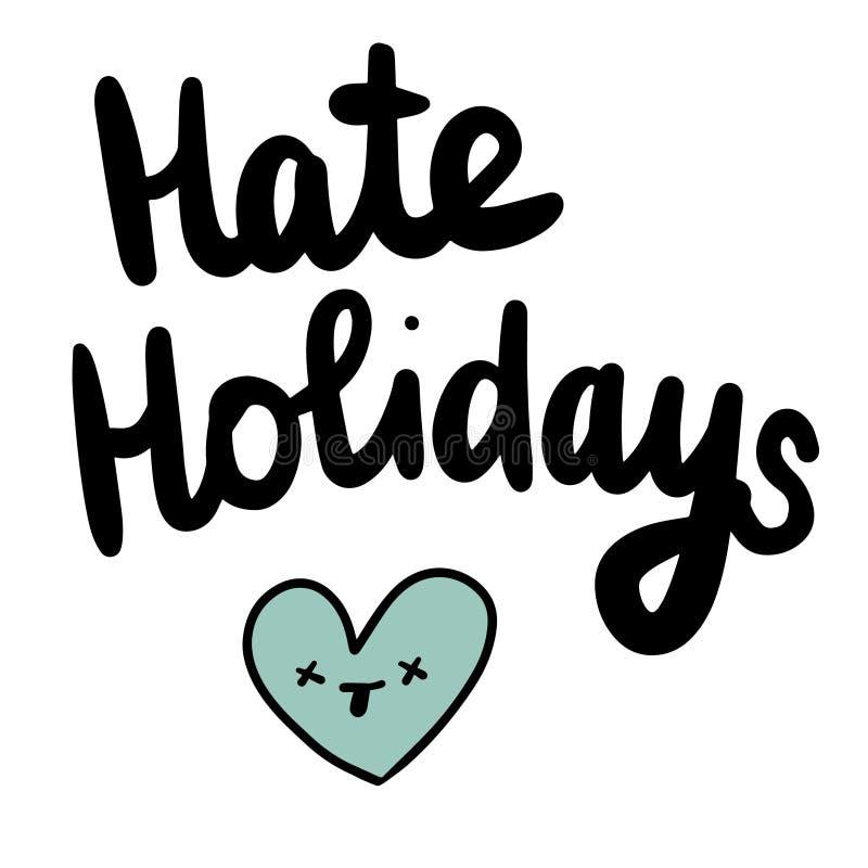 Hassfeiertage übergeben gezogene Illustration mit totem Herzen vektor abbildung