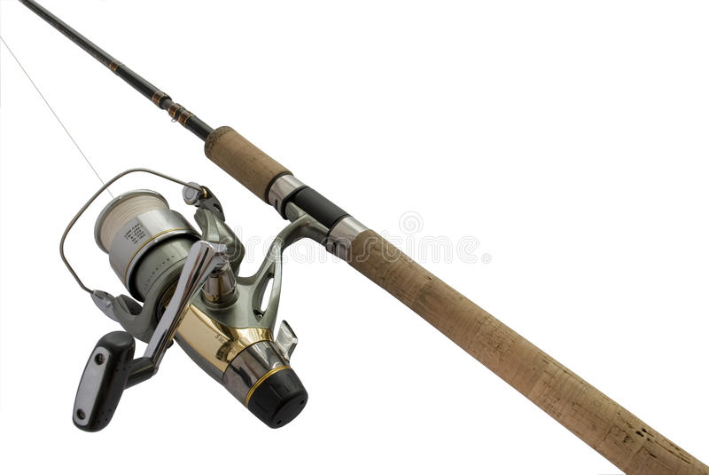 Haste de pesca com carretel fotografia de stock royalty free