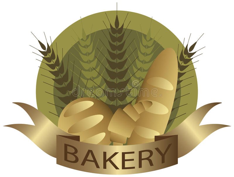 Haste do trigo da padaria e etiqueta do pão ilustração do vetor