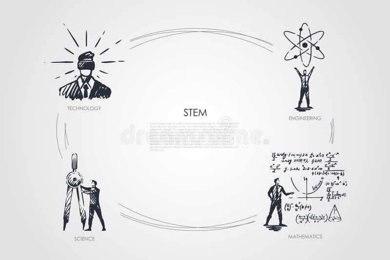 HASTE, tecnologia, engenharia, matemática, vetor do conceito da ciência ilustração do vetor
