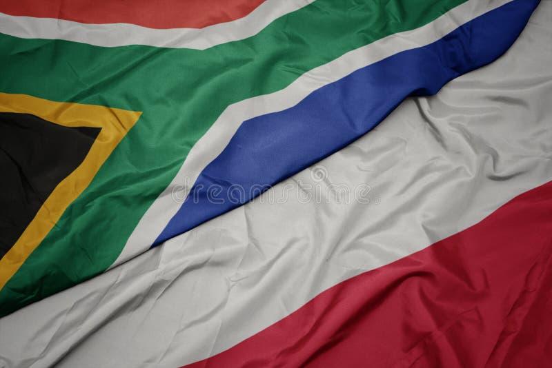 hasteando bandeira colorida da polônia e bandeira nacional da áfrica do sul imagem de stock