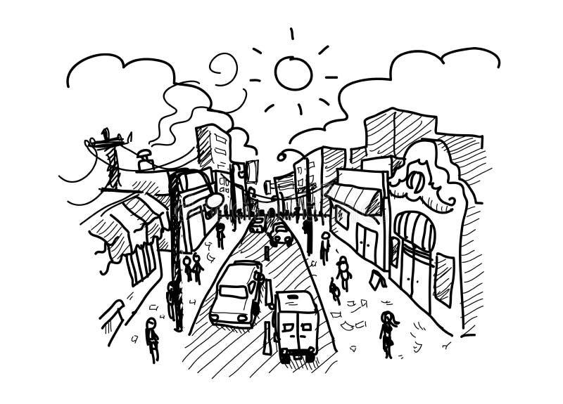 Hastende Stadt lizenzfreie abbildung