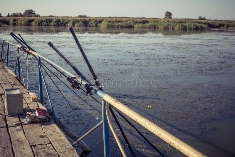 Hastes de pesca imagem de stock