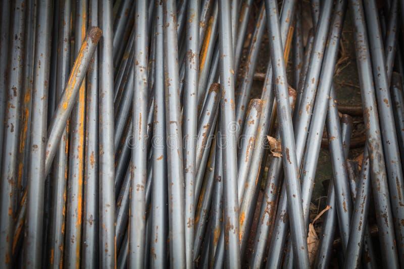 Hastes ou barras de aço usadas para reforçar imagem de stock