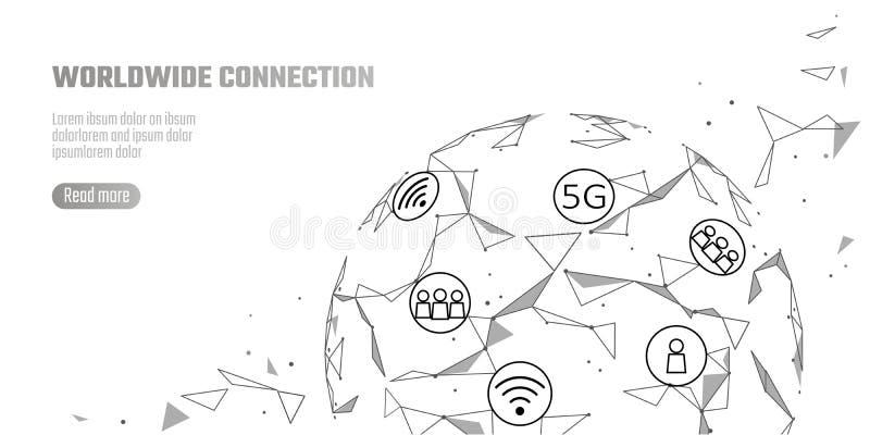 Hastighet för internet för anslutning för globalt nätverk 5G snabb Världspunktlinje världsomspännande informationsteknikdatautbyt royaltyfri illustrationer