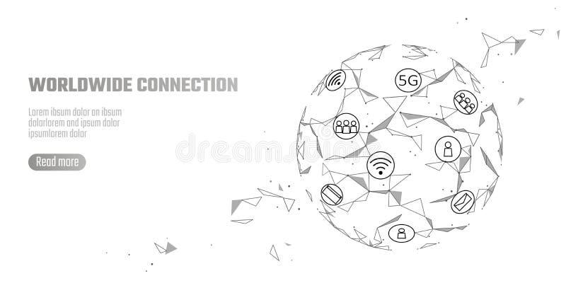 Hastighet för internet för anslutning för globalt nätverk 5G snabb Världspunktlinje världsomspännande informationsteknikdatautbyt vektor illustrationer