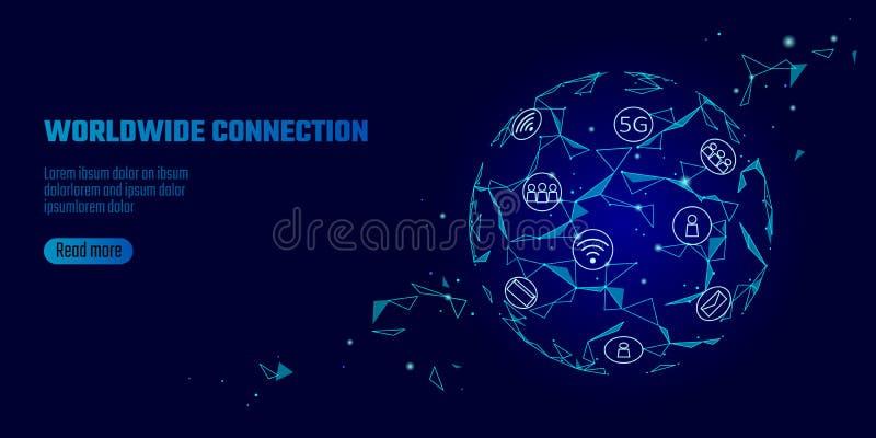 Hastighet för internet för anslutning för globalt nätverk 5G snabb Världspunktlinje världsomspännande informationsteknikdatautbyt stock illustrationer