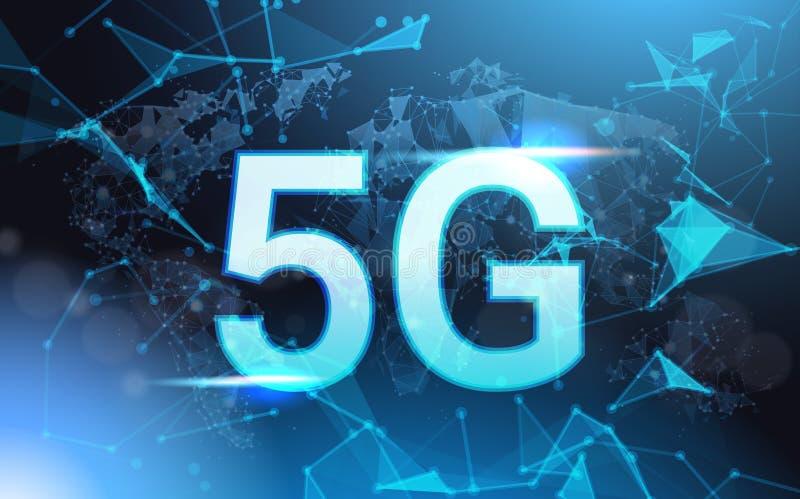 hastighet för internetuppkoppling 5g undertecknar över futuristiska låga Poly Mesh Wireframe On Blue Background stock illustrationer