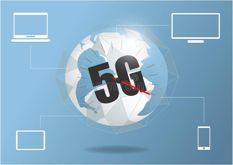 Hastighet f?r internet f?r anslutning f?r globalt n?tverk 5G snabb V?rldspunktlinje v?rldsomsp?nnande aff?r f?r informationstekni vektor illustrationer