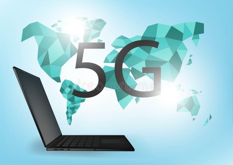 Hastighet f?r internet f?r anslutning f?r globalt n?tverk 5G snabb V?rldspunktlinje v?rldsomsp?nnande aff?r f?r informationstekni royaltyfri illustrationer