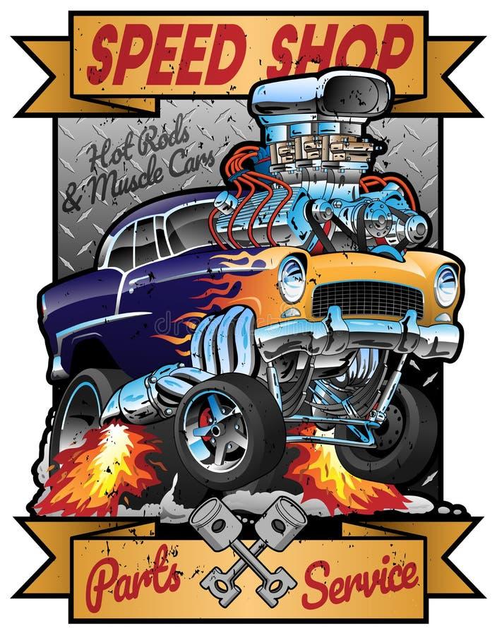 Hastighet shoppar den varma illustrationen för vektorn för tecknet för det Rod Muscle Car Parts och servicetappninggaraget vektor illustrationer
