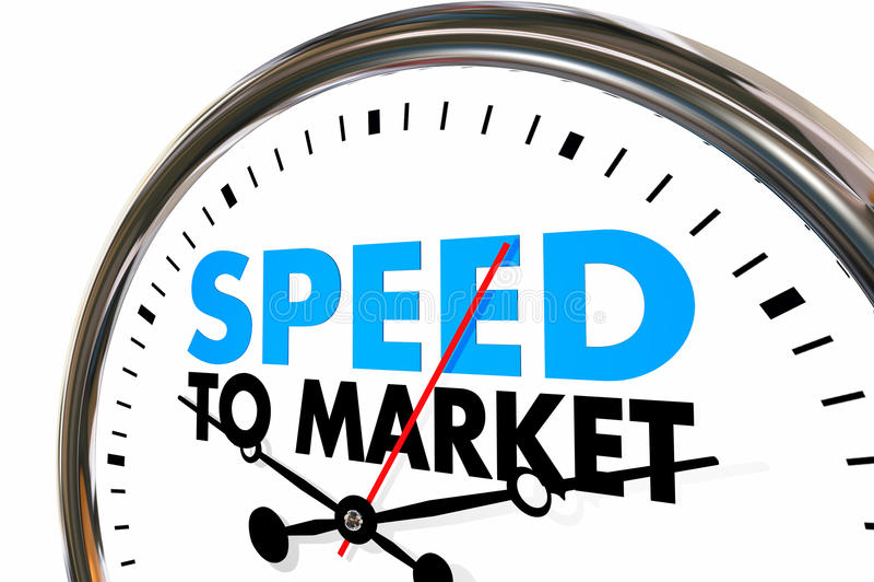 Hastighet som marknadsför den snabba produktutvecklinghastighetsmätaren stock illustrationer